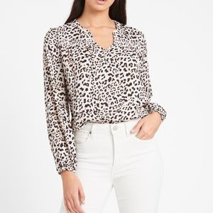 Banana Republic Leopard Animal Print V-neck Blouse